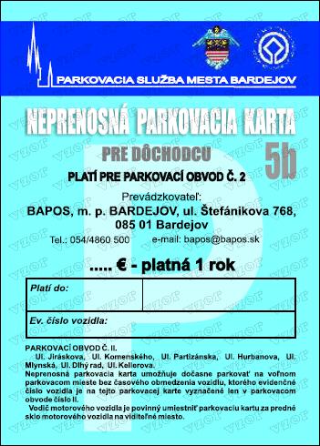 Mesto Bardejov Parkovancie Karty